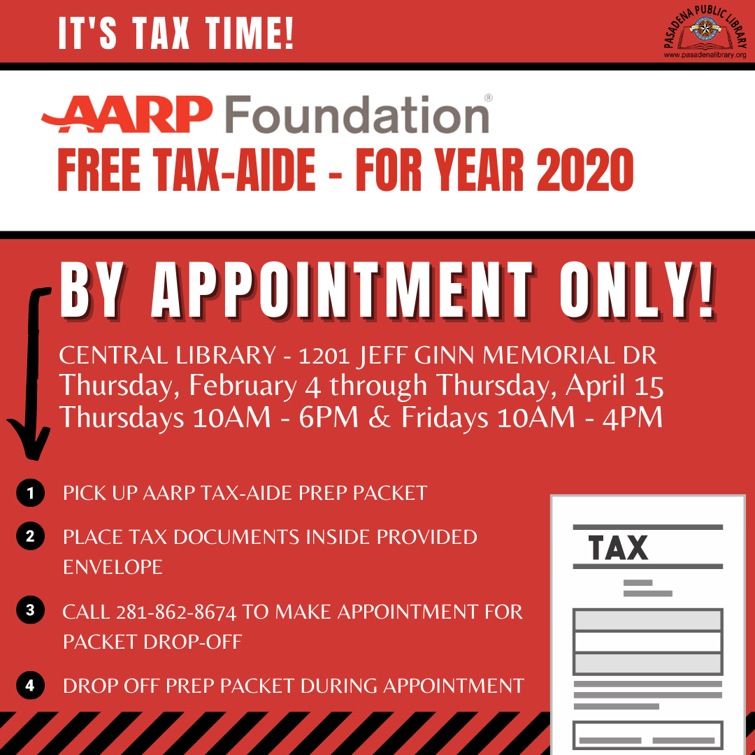 AARP FREE Tax-Aide - By Appointment Only!
