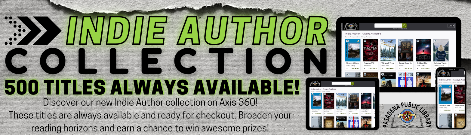 Discover our new Indie Author collection on Axis 360! Start 2021 with something different and find a new favorite author or genre. These titles are always available and ready for checkout.