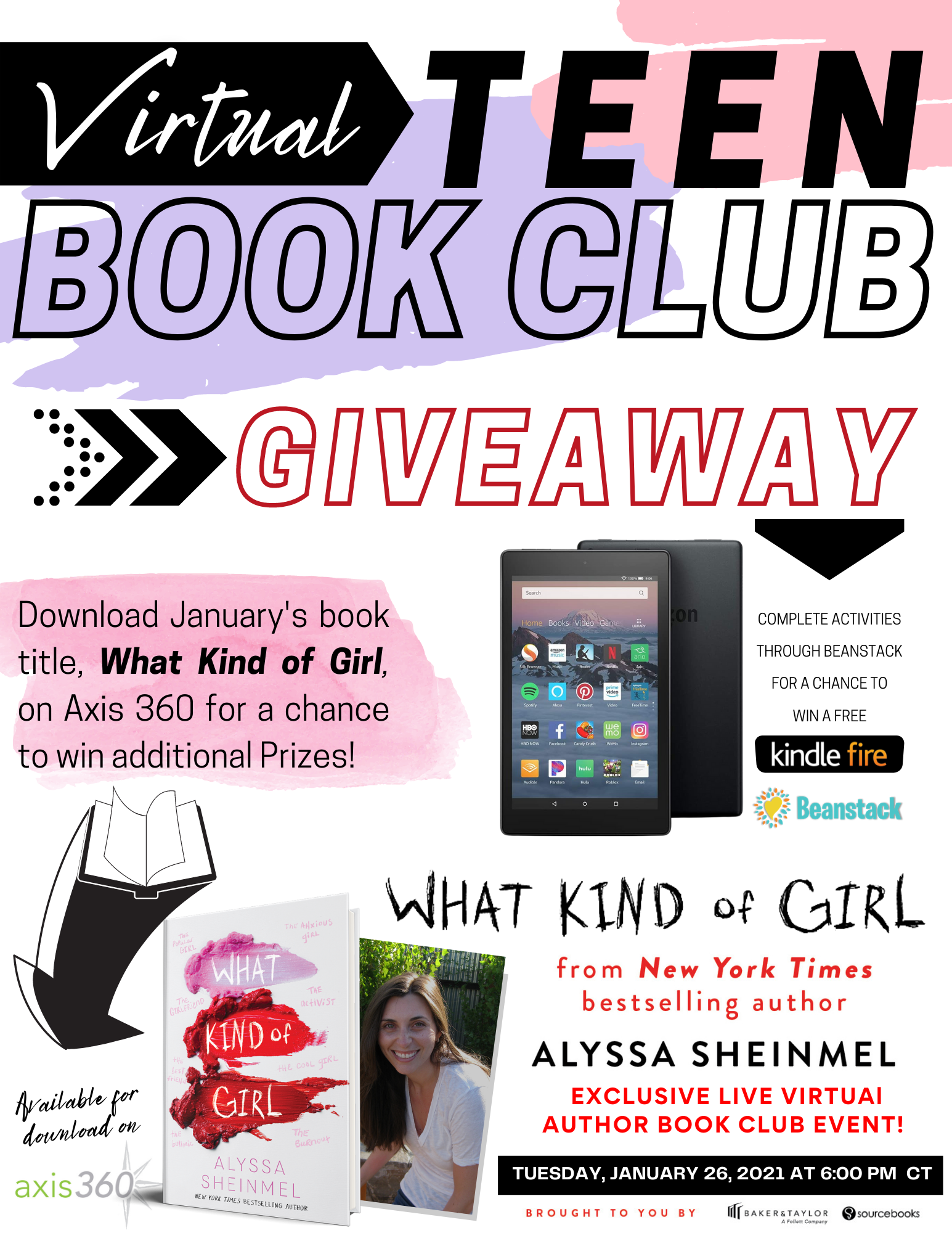 Don't miss out on January's Virtual Teen Book Club title, What Kind of Girl by Alyssa Sheinmel, a New York Times Bestselling Author.