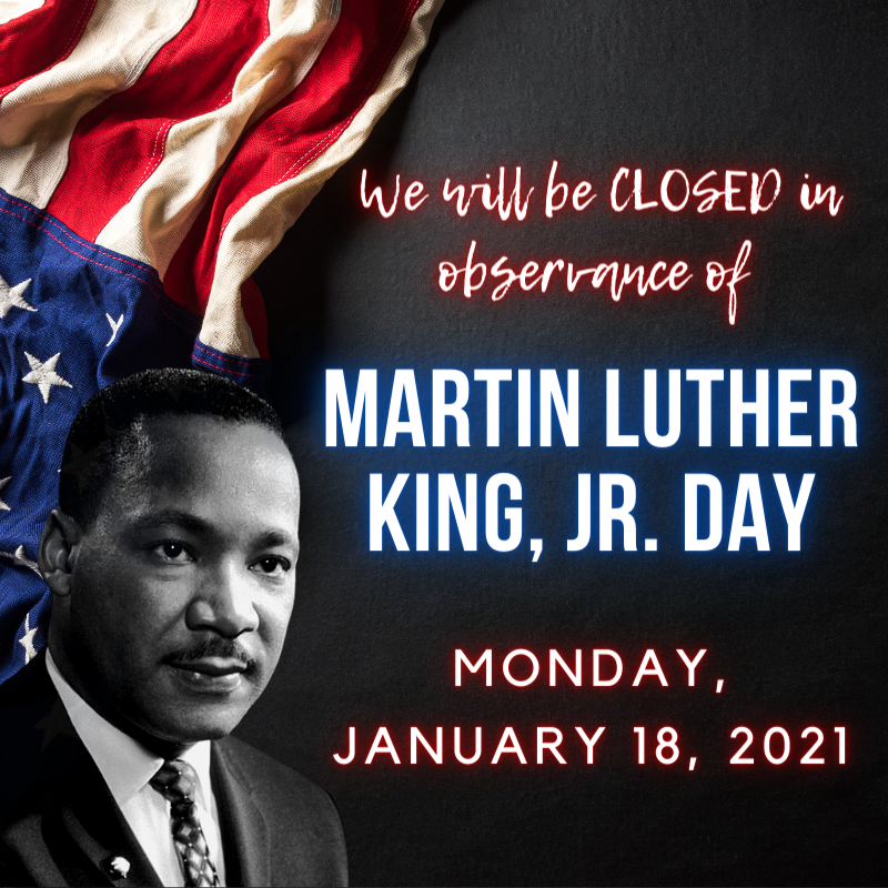 The Pasadena Public Library will beCLOSED Monday, January 18in observance of Martin Luther King, Jr. Day!  Both library locations will reopen on Tuesday, January 19, 2021at 10:00AM!